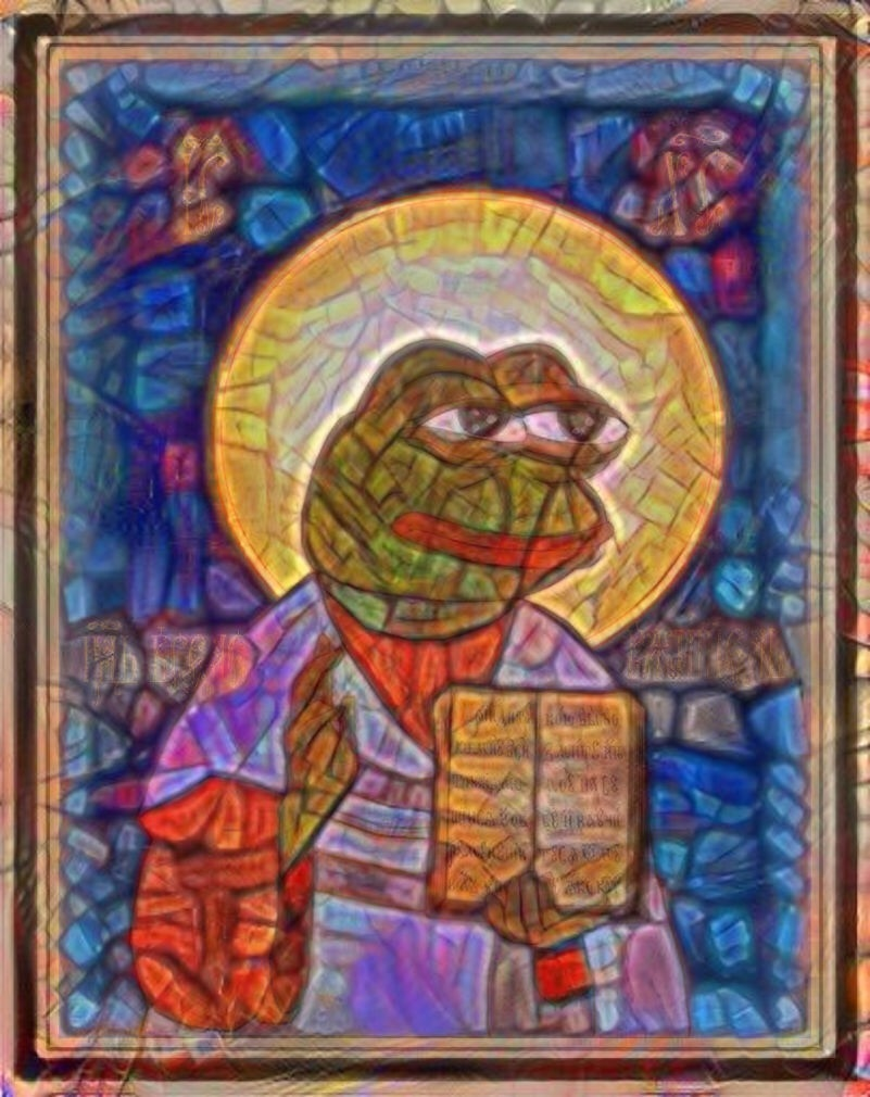A stained glass window meme of Pepe the Frog as a medieval saint.