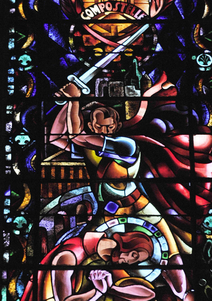 A stained glass window depicting, in vivid colors, the execution of St. James, with the executioner looking like Adolf Hitler.