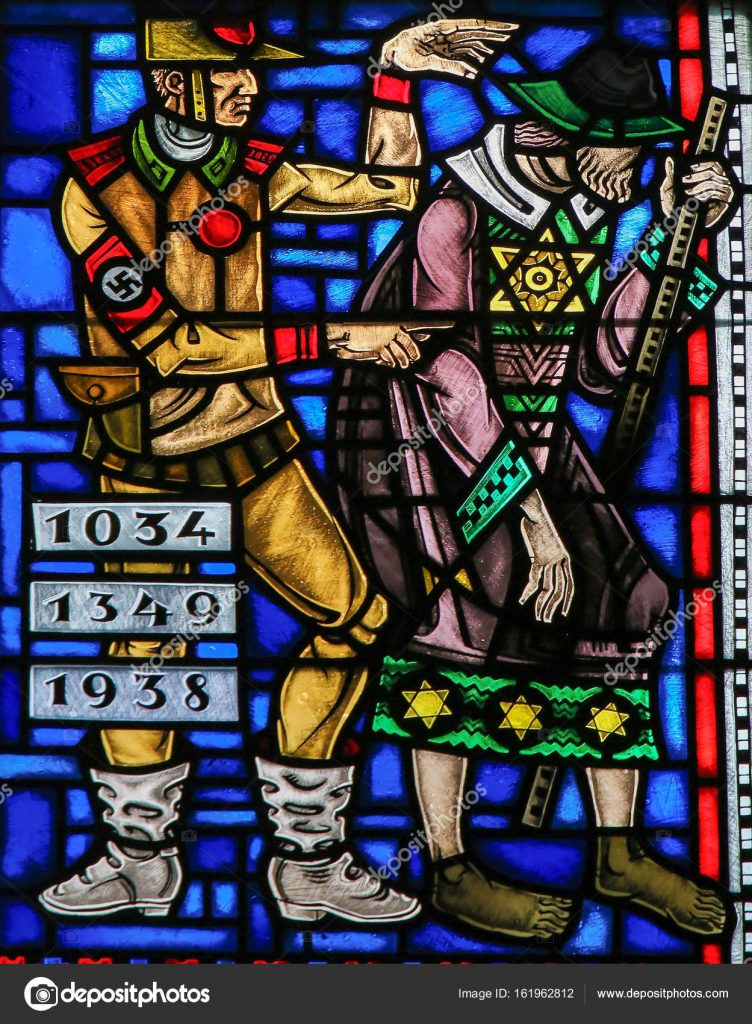 A stained glass window depciting a man in Nazi uniform pointing at a man with a wide brimmed hat and with stars of david on his coat.