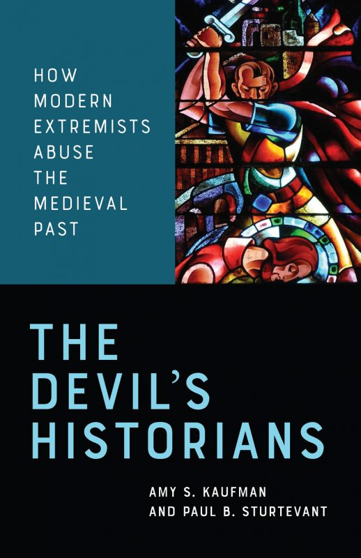 Cover of The Devil's Historians, picturing a stained glass window that shows the execution of St. James, but the executioner looks like Adolf Hitler.